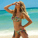 Leaves Print Bikini Set Push Up Swimsuit Bandeau Swimwear Bathing Suit