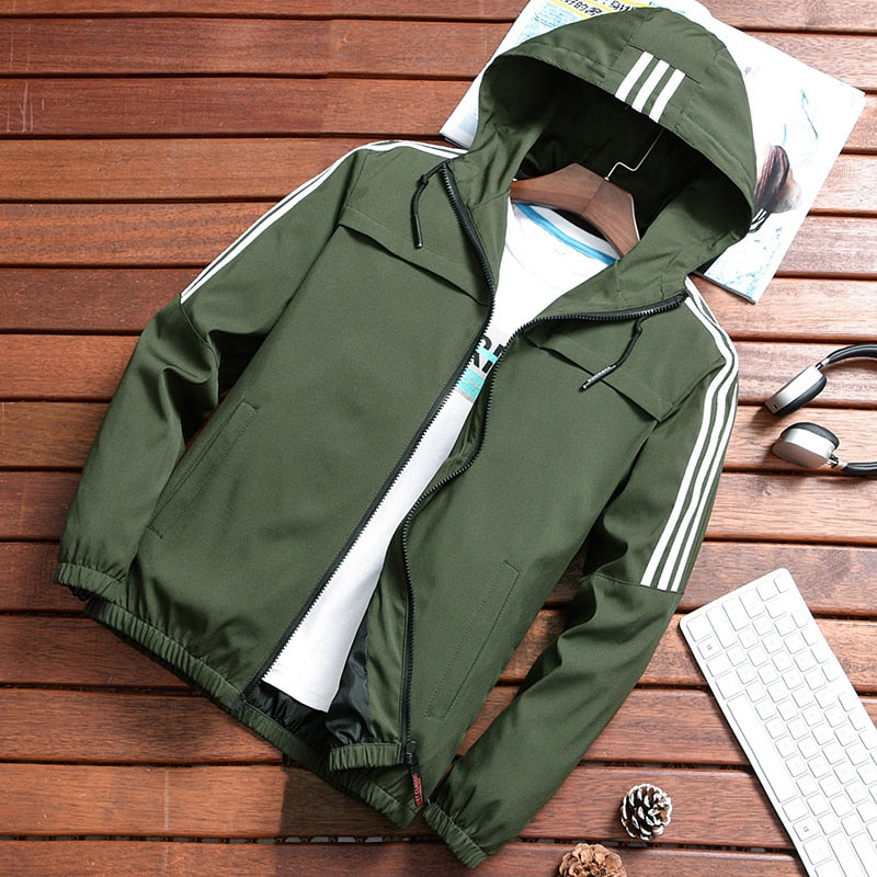 Zip Up Men Jacket Spring Fall Fashion Slim Fit Coats Male Casual Baseball Bomber Jacket Size S-4XL