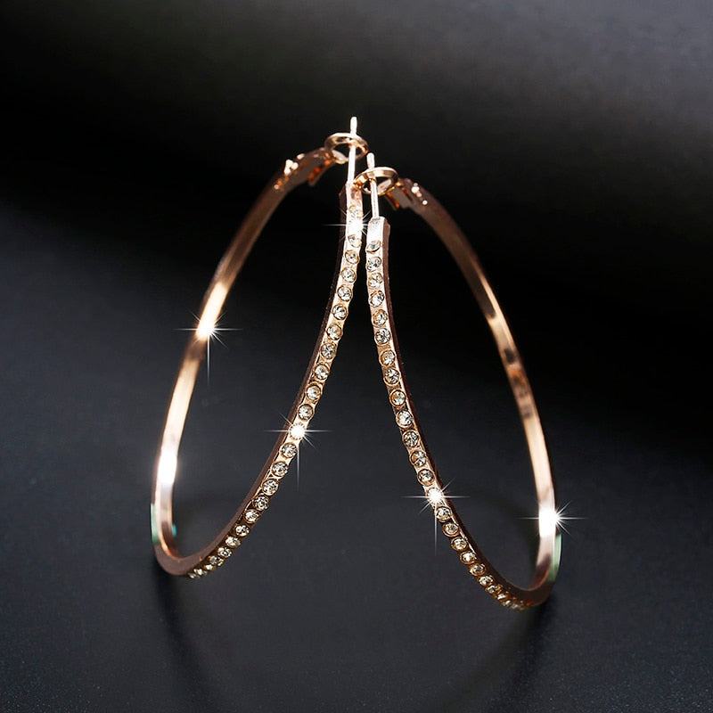 Fashion Hoop Earrings With Rhinestone Big Circle Gold Color Loop For Women