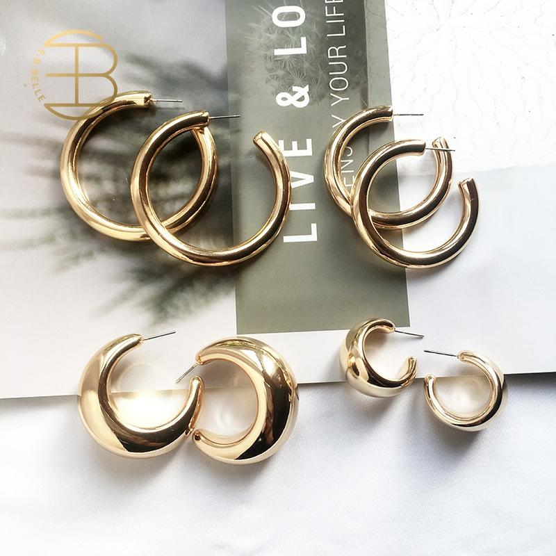 Street Style CC Hoop Chunky Gold Small Big Hoop Punk Metal Circle Earrings