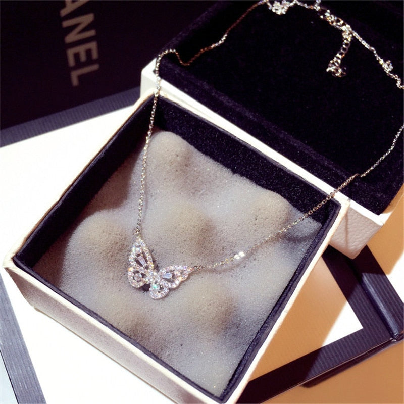 Butterfly Necklace Pendant For Women 925 Silver Cubic Zirconia Luxury Clavicle Chain Temperament Jewelry