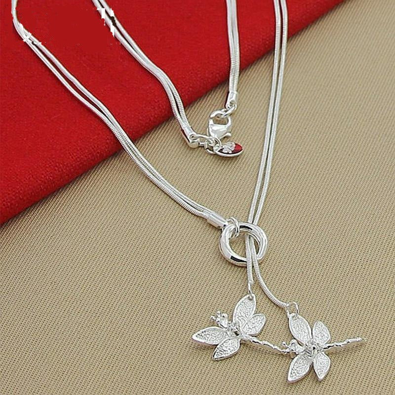 Two Dragonfly Pendant 925 Sterling Silver Necklace Snake Chain Jewelry