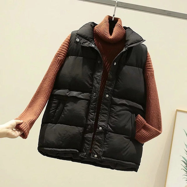 Women Sleeveless Vest Winter Warm Plus Size S-2XL Down Cotton Padded Jacket Mandarin Collar Waistcoat