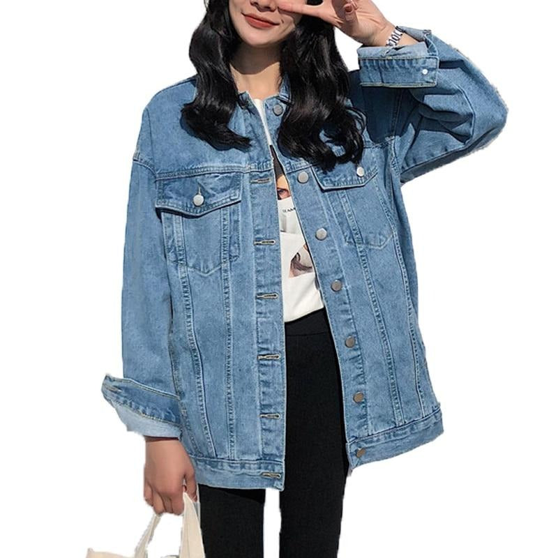 women's denim jacket 2020 korean style solid casual  blue  jackets autumn plus size  loose jeans coats female