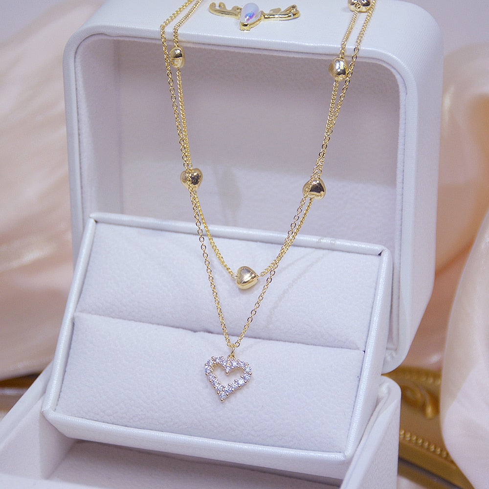 14k Real Gold Double Layer Heart Necklace Shining Bling Zircon Women Clavicle Chain Elegant Charm Pendant Jewelry