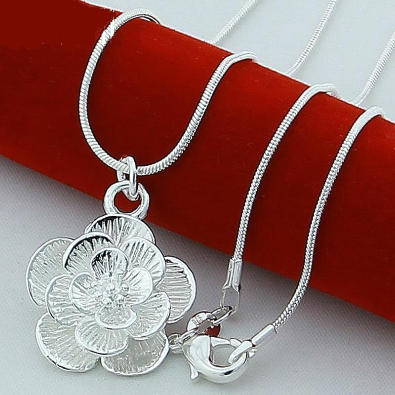 Genuine 925 Sterling Silver Cute Rose Flower Pendant Necklace 18 Inches Chain Jewelry