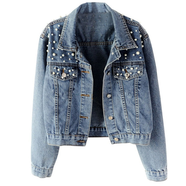 Pearl Beading Short Denim Jacket White Wash Long Sleeve Vintage Casual Jeans Coat
