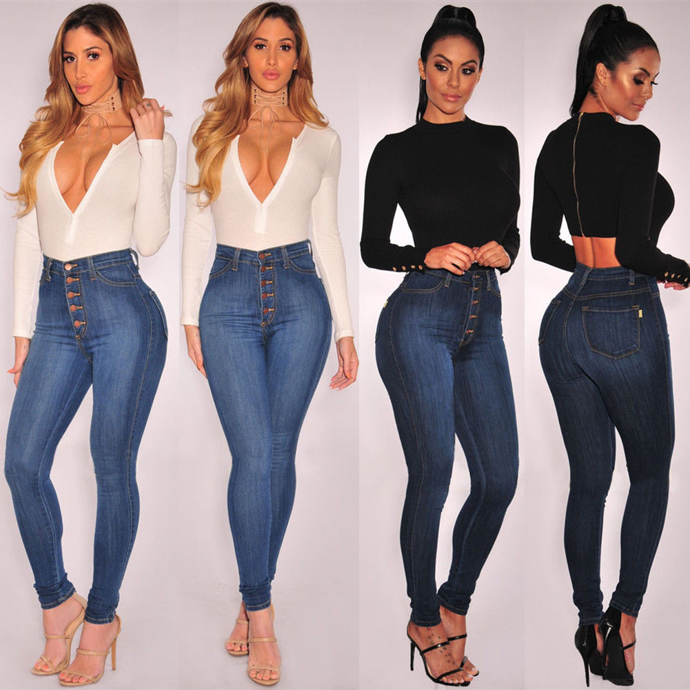 Women Stretch High Waist Jegging Denim Jeans Skinny Slim Pants Trousers Leggings Fashion Casual Daily Skinny Pencil Bottoms