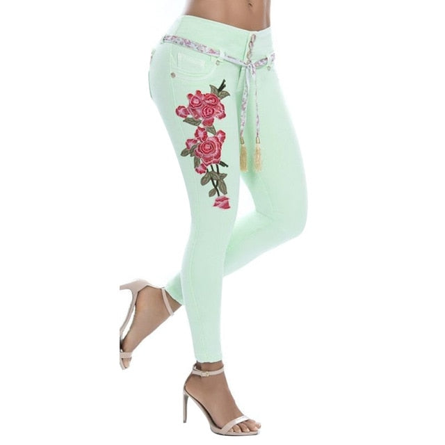 woman pants  Sexy Women Floral Embroidery High Waist Skinny Jeans Denim Long Pants Denim/ Polyester/ Spandex Women's Jeans S-5XL