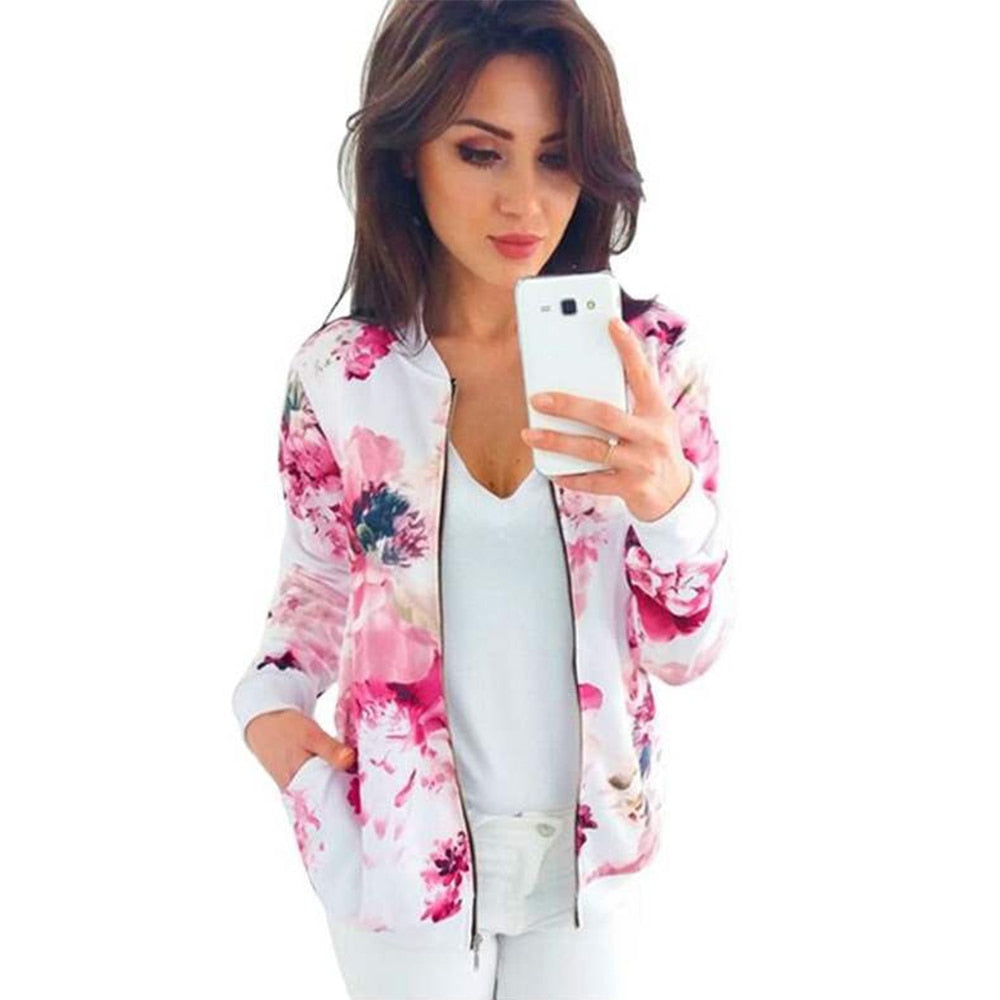 Floral Printed Bomber Jacket Spring Women's Retro Coat Long Sleeve Outwear