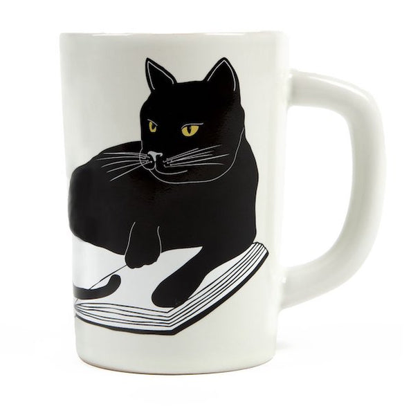 cat and bookstore mug