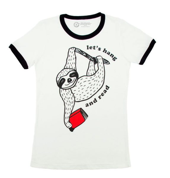 sloth reading shirt
