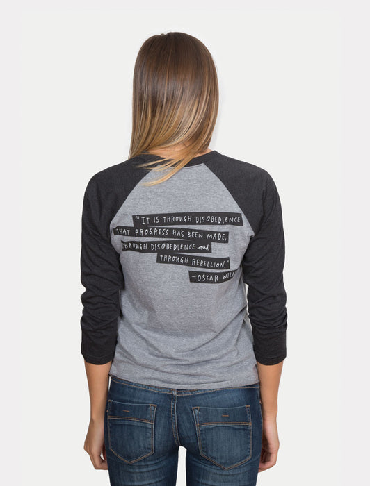 Punk Rock Authors unisex 3/4-Sleeve Raglan back - on female model