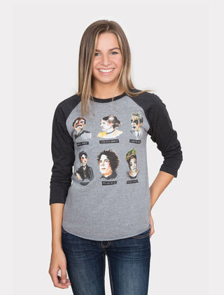 Punk Rock Authors unisex 3/4-Sleeve Raglan front - on female model