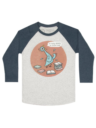 The Pigeon: So Many Books Unisex 3/4-Sleeve Raglan