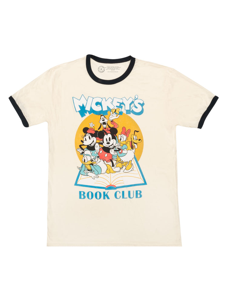 Disney Mickey Mouse Book Club Unisex Ringer T-Shirt