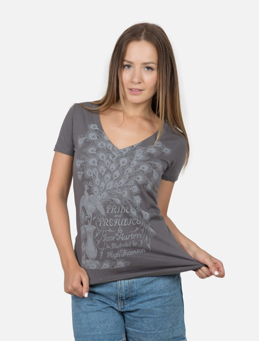 Pride and Prejudice women's gray book cover t-shirt