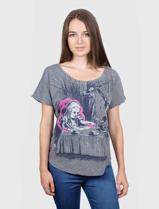 Alice in Wonderland on model - women's dolman wide neck book t-shirt