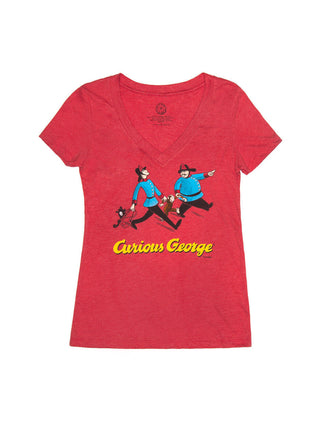 Curious George (Red) Women's V-Neck T-Shirt