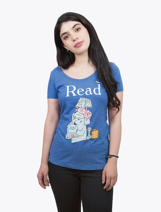 ELEPHANT & PIGGIE Read Women's Scoop T-Shirt