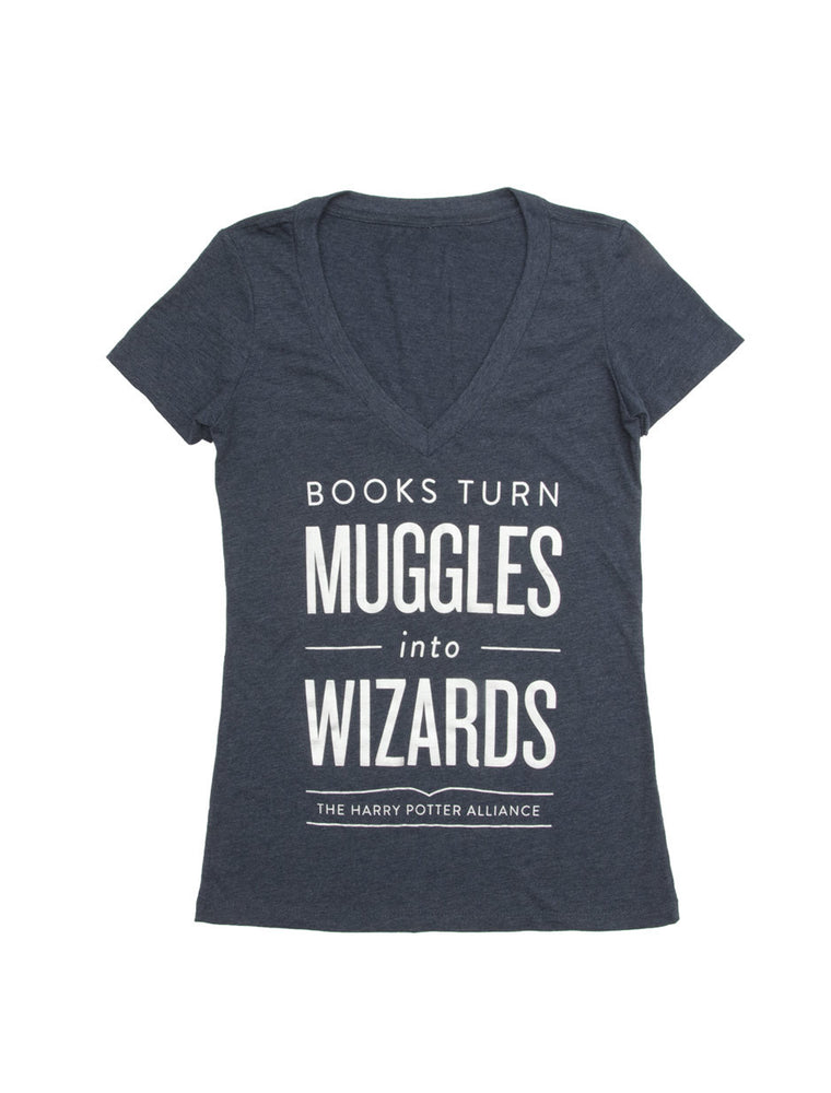 Books Turn Muggles into Wizards Women's V-Neck T-Shirt
