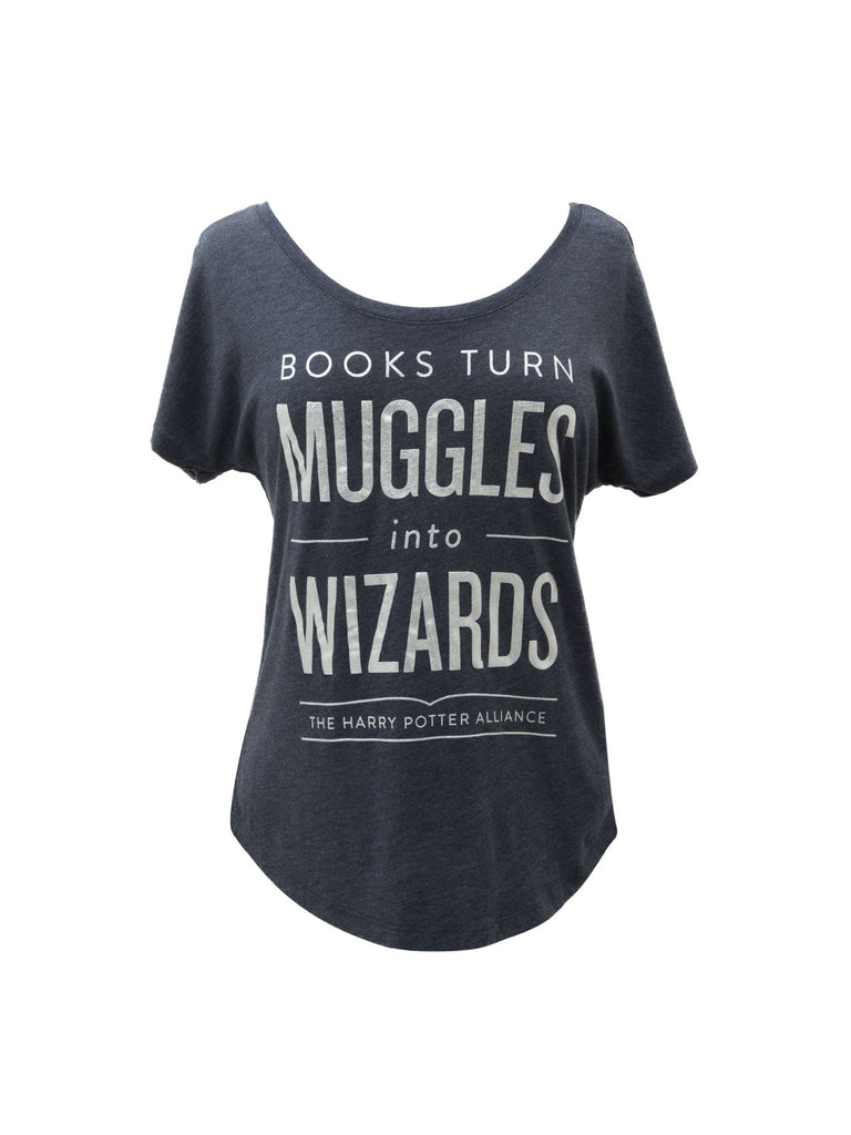 Books Turn Muggles into Wizards Women's T-Shirt (Dolman)