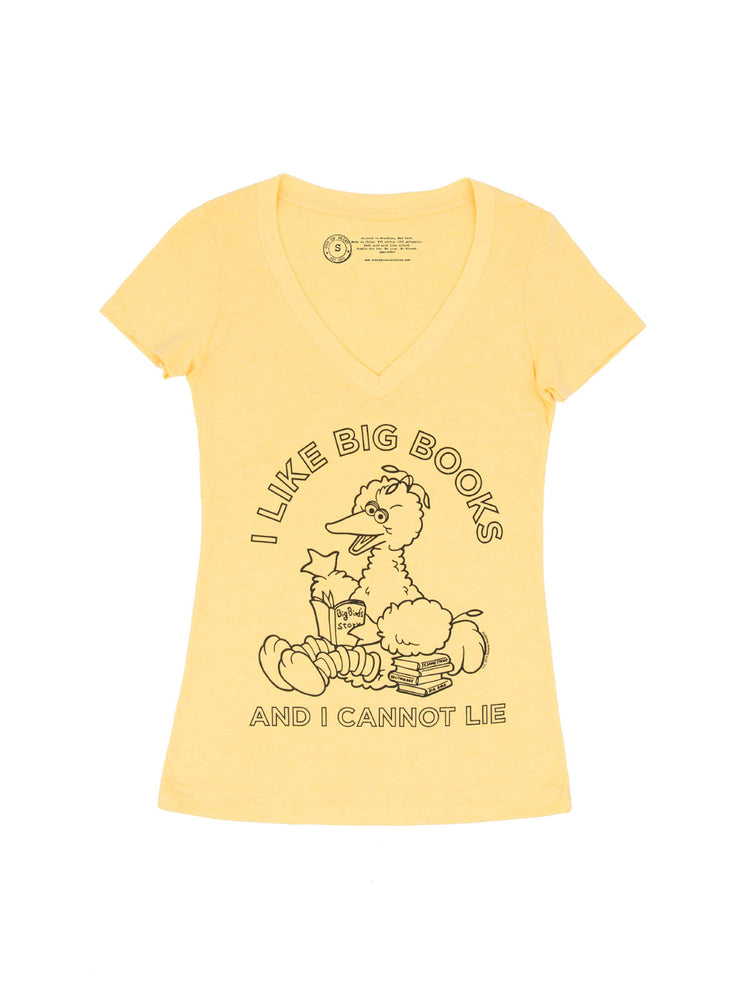 Big Bird - I Like Big Books Women's V-Neck T-Shirt