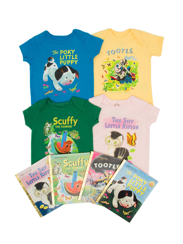 Bundle - Little Golden Books onesie/kids' tee and books