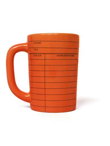 Library Card vintage red mug - left handle