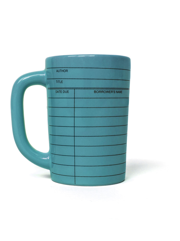Library Card blue mug - left handle