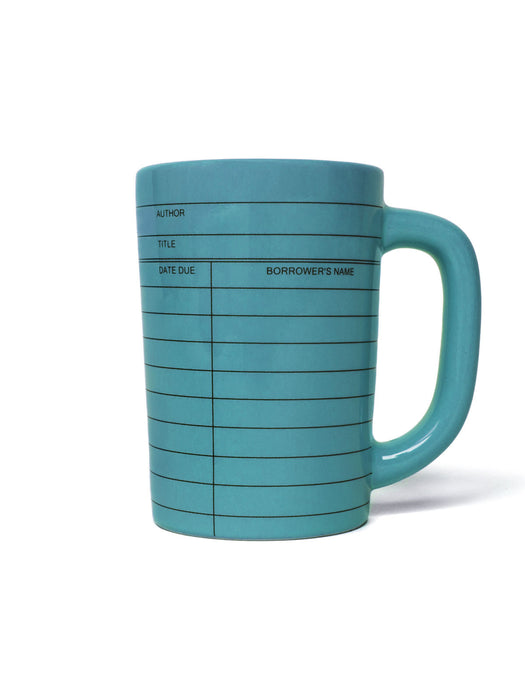 Library Card blue mug - right handle