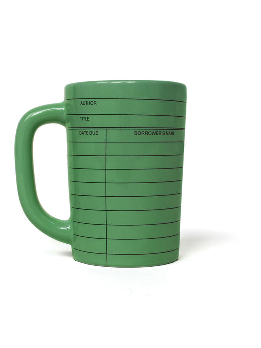 Library Card green mug