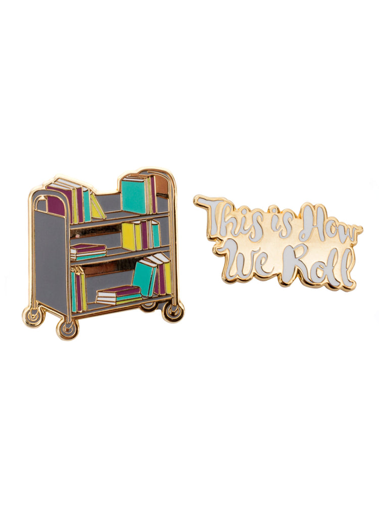 This is How We Roll Book Truck enamel pin set