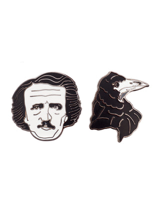 Edgar Allan Poe and Raven enamel pin set