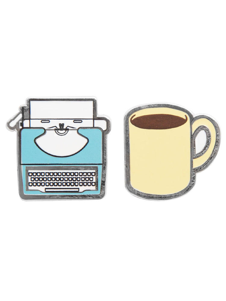Typewriter and Coffee enamel pin set
