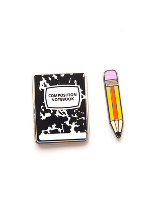 Notebook and Pencil enamel pin set
