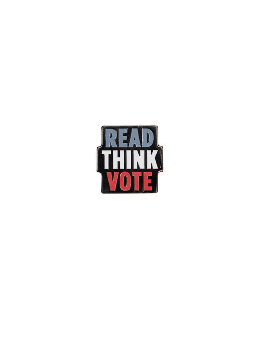 Read Think Vote enamel pin
