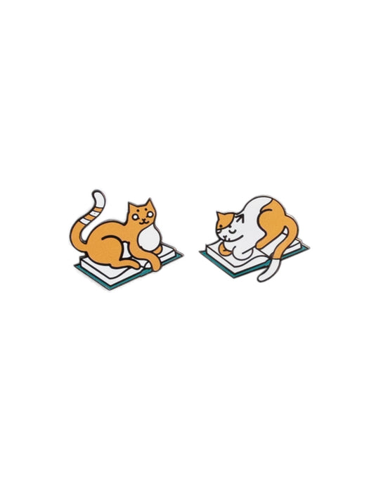 Curl Up with a Book enamel pin set