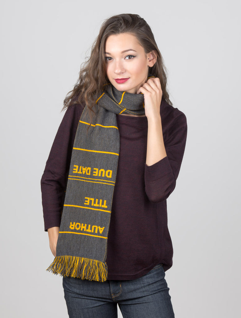 Library Card Scarf - Gray