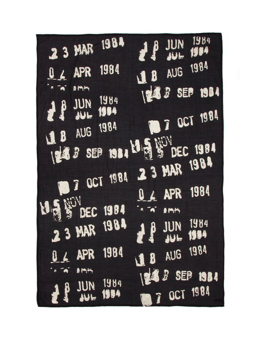 Library stamp black lightweight scarf - flat