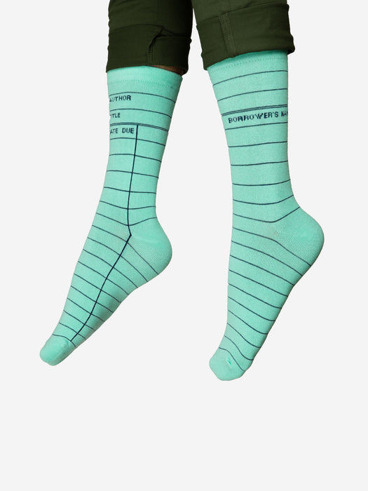 Library Card: Mint Green socks