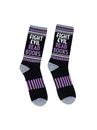 Fight Evil, Read Books gym socks