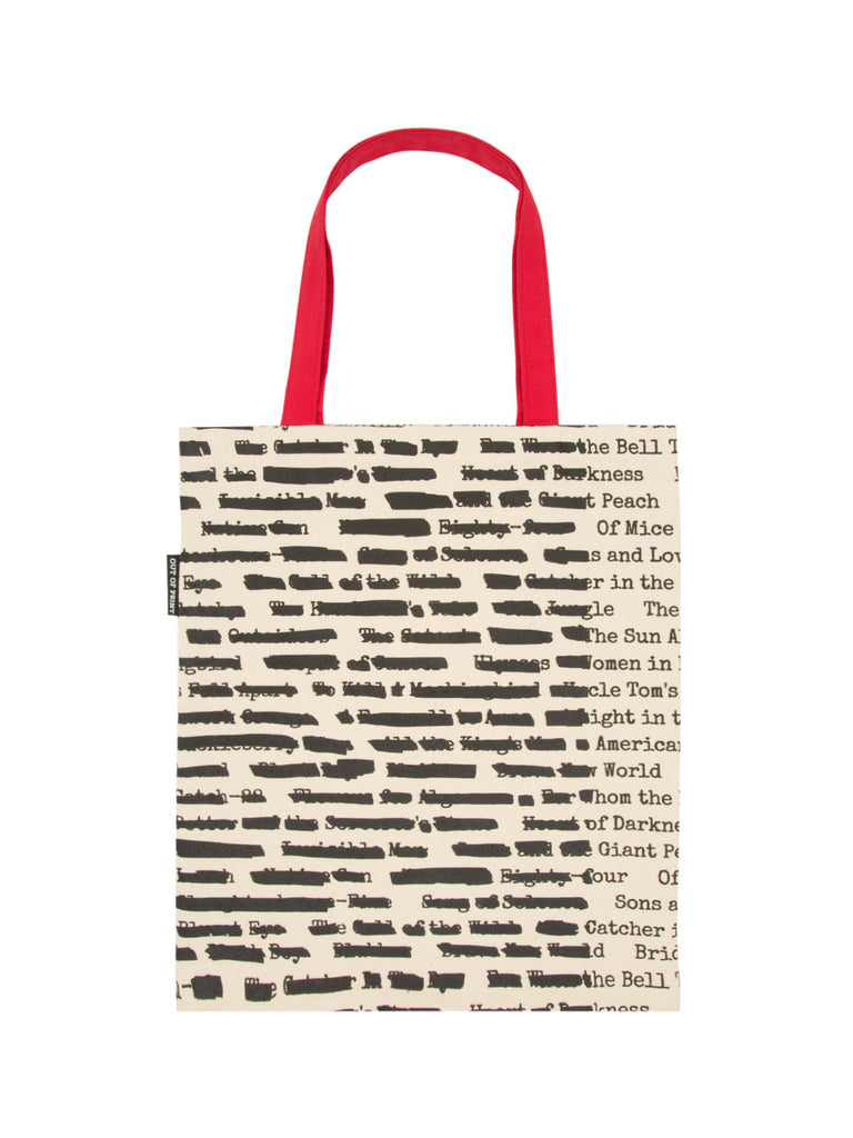 """Banned Book Canvas Tote Bag 15/"""" x 17/"""" Blk//White w//Red Strap Out of Print Brand"""