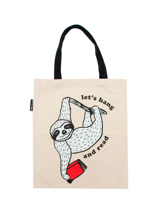 Book Sloth - Let's Hang and Read tote bag