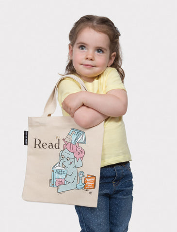 ELEPHANT & PIGGIE Read kids tote bag