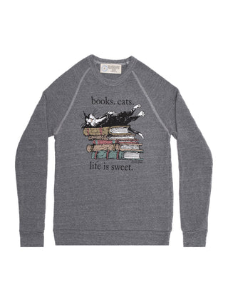 Books. Cats. Life is Sweet. unisex sweatshirt
