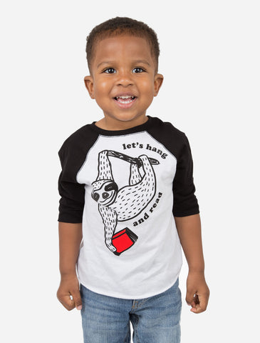 Kids' Book Sloth - Let's Hang and Read Unisex 3/4-Sleeve Raglan
