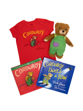 Bundle - Corduroy onesie/kids' tee and books