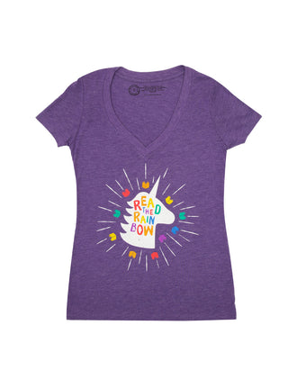 62f6f93d Read the Rainbow Women's V-Neck T-Shirt ...