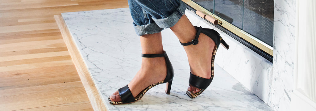 Cameron black leather striped raffia sandal